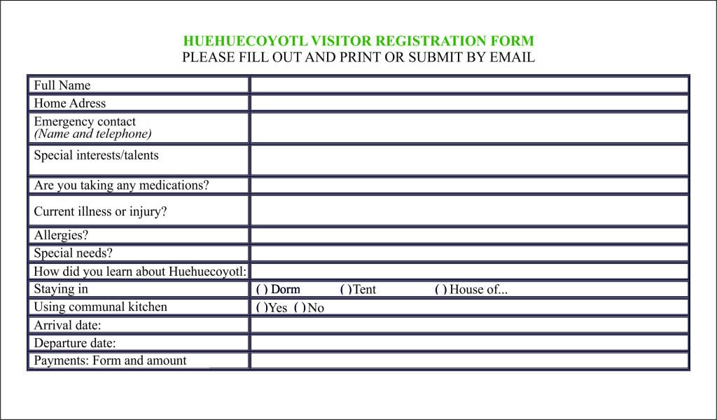 formulario visitas inglés